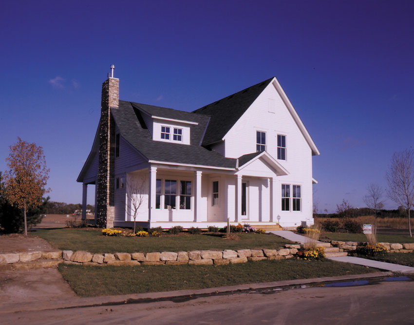 Prairie Farmhouse: Exterior from the Front with porch